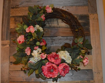 Everyday Wreath with Hydrangea, Pink Wild Roses, Peony Wreath, Wild Rose, Mothers Day wreath
