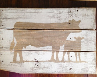 Neutral Rustic Cow and Calf Sign - White and Natural Wood | Reclaimed Lumber