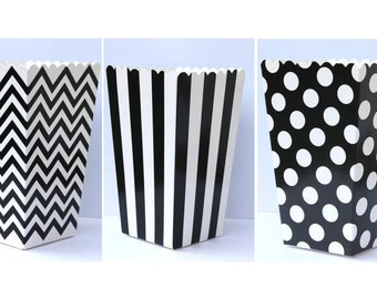 "SALE, 12 Black  Popcorn Boxes- Treat Boxes - Party, Birthday and more ""Same Day Shipping"""