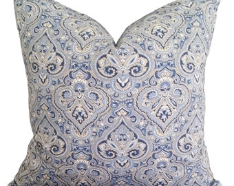 Paris Paisley Blue Beige French Vintage Designer Cushion Cover 45 x 45cm FREE POSTAGE Australia Wide