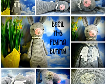 Basil the Flying Bunny, huggable and snuggly plush toy