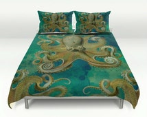 Octopus Bedding-Duvet Cover-Teal Green Watercolor -Pillow Shams  -Octopus Tentacles -Lightweight