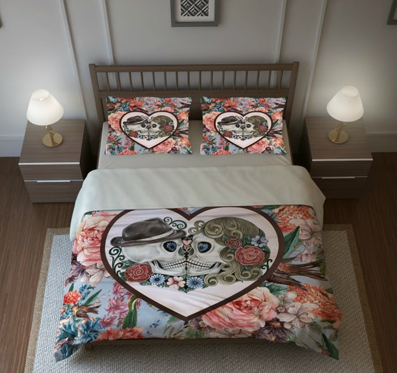 Skull Bedding, Sugar Skulls, Duvet Cover Set, &quot;Forever More ll &quot; Blue Coral Floral 								<a href=