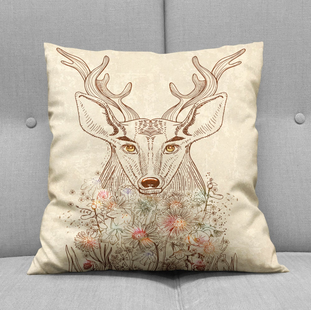 Decorative Pillows With Deer : Throw Pillow Woodland Deer Floral