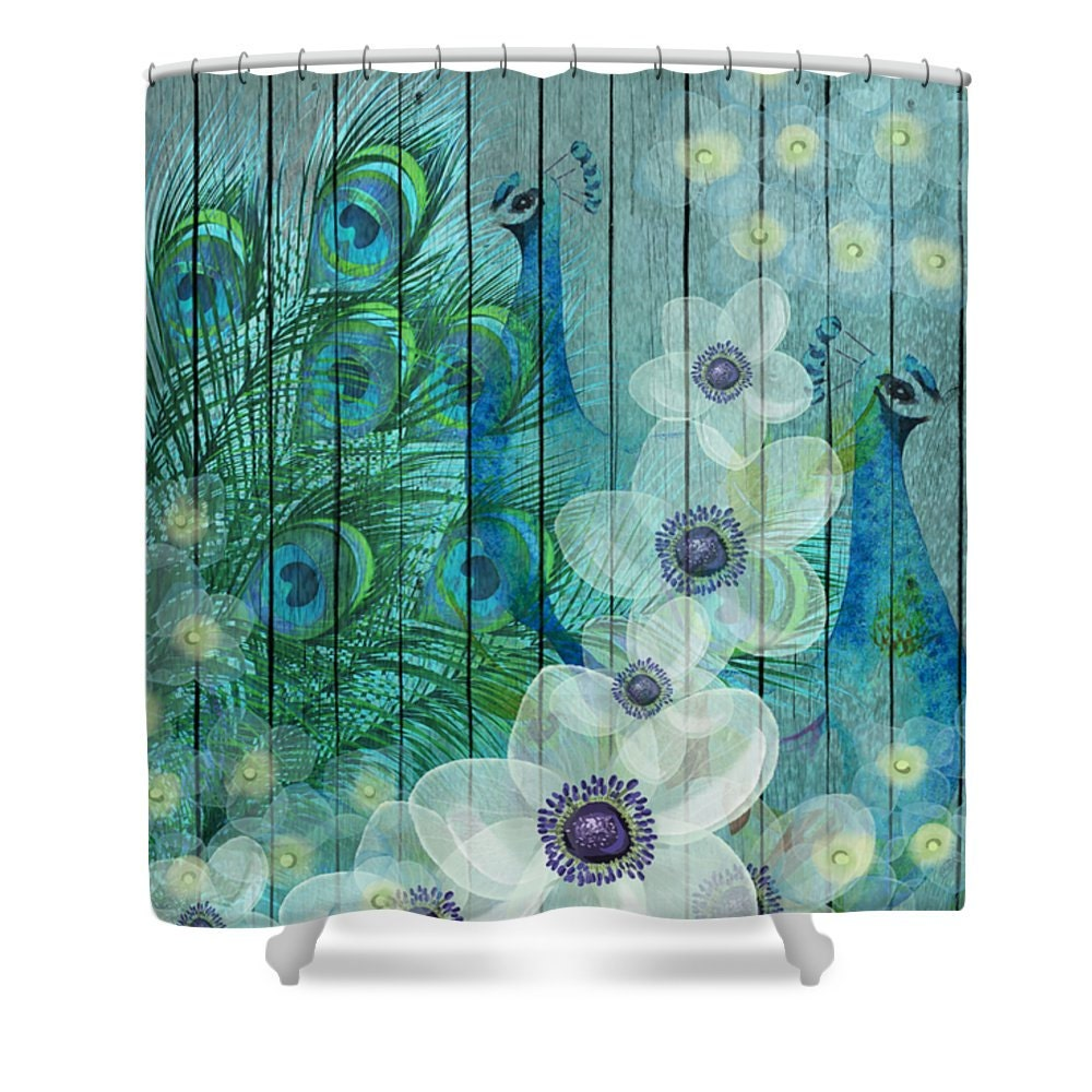 Peacock Shower Curtain Teal Floral Faux Wood Peacock