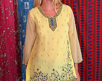 Boho Tunic India Sequin Beaded Embroidered Tunic Vintage 80s Indian Tunic