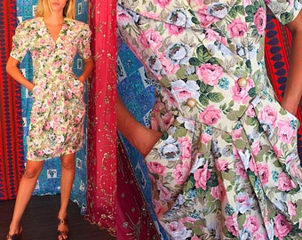 Vintage 80s Linen Floral Jessica Howard Mitchell Rodbell Dress XS