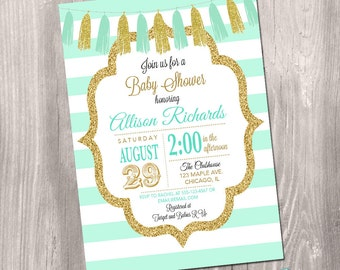 Mint and gold baby shower invitation, boy baby shower invitation, gender neutral, printable baby shower invitation, Printable Invitation