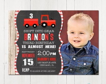 Red Tractor Invitation, red Tractor Birthday Invitation, Tractor Party, Farm Birthday, Tractor invite, Printable Invitation