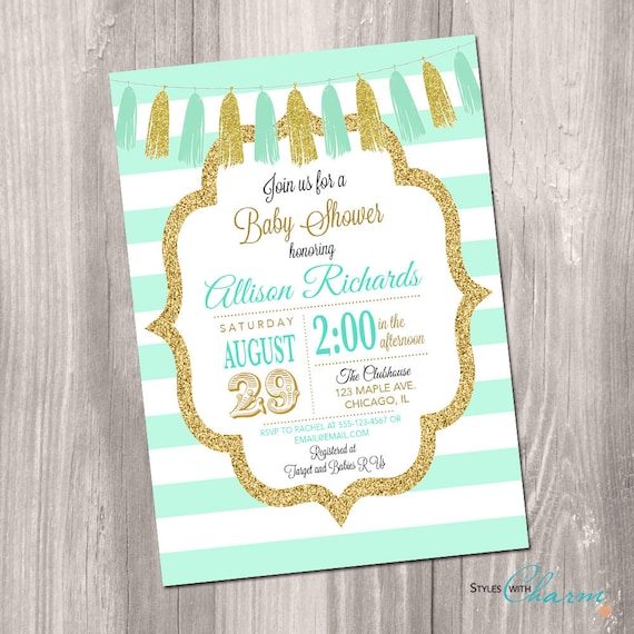 Baby Boy Gift Gold : Mint and gold baby shower invitation boy