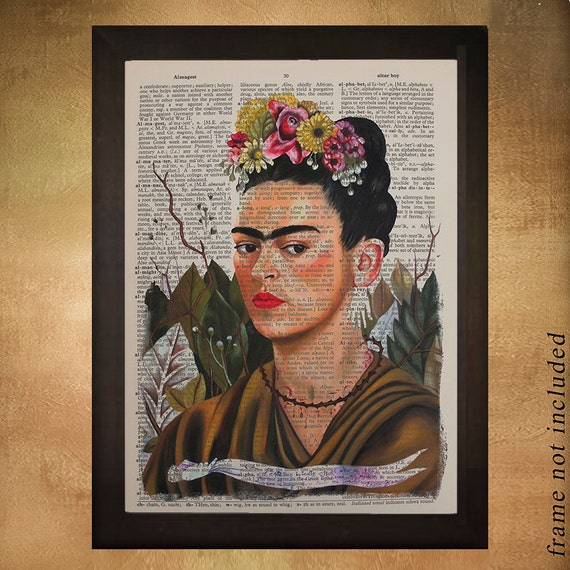 frida kahlo portrait dictionary art print kahlo decor home frida kahlo e as cores vibrantes na decora 231 227 o reciclar e