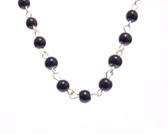 Black beaded necklace, Pearl chain necklace, pearl necklace, necklace, black necklace,  beaded necklace, black pearl necklace