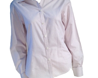 Brooks Brothers Violet Fitted Striped Buttondown Blouse - Size 8
