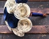 Wedding Flowers - Paper Flower Bouquet - Wedding Bouquet Alternative - Bridal Bouquet - Paper Flowers - music sheet - Navy Blue