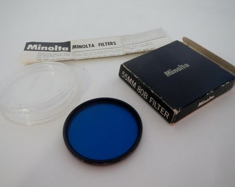 Vintage Minolta Blue Filter in Case - 80B, 55mm - camera collector, photography, retro photo, daylight photography, artificial lighting