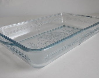 Vintage Anchor Hocking Fire-King Philbe Rectangle Baking Dish - Light Sapphire Blue - 1940s - RARE, casserole, kitchenware, food storage