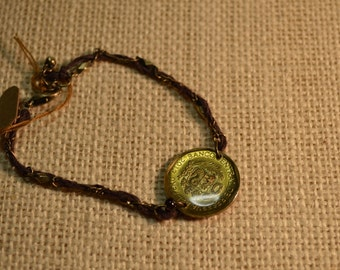 Handmade Copper and Thread Resin Bracelet with Peruvian Coin