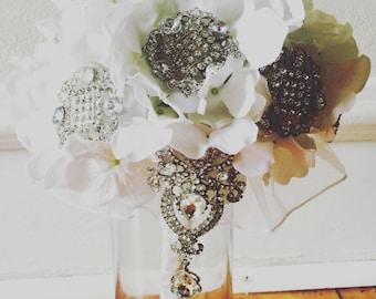 Custom Hydrangea Brooch Bouquet Cascading Detail