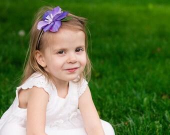 Floral Girl Headband, Baby Floral Headband, Toddler Floral Headband, Purple Flower Girl Headband, Purple Headband, Skinny Baby Headband