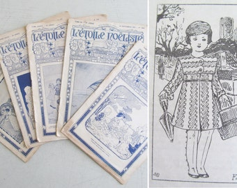 Enchanting collection FIVE 1930s childrens magazines ETOILE NOELISTE published in Paris~Packed with illustrations, stories & patterns