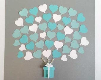 Bridal shower - Wedding Guest book Alternative - blue- up to 45 heart balloons