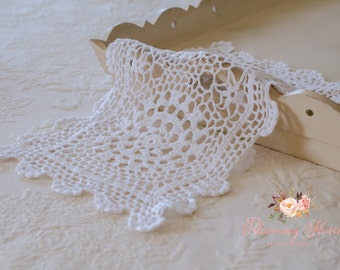 Newborn layer, VINTAGE DOILY. White Vintage Crocheted  Doily.
