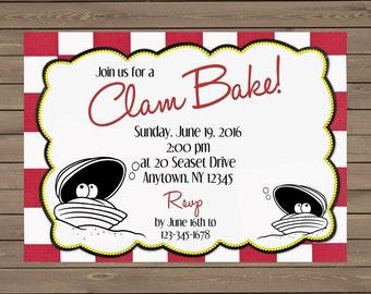 Clam Bake Invitation - Digital File or Printed
