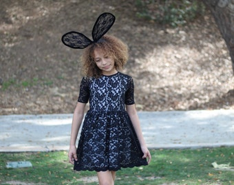 Girls Black Lace Dress with Scalloped Hemline, Girls Black Lace Dress, Girls Lace Dress Sizes 2/3, 4/5, 6/6X, 7/8, 10/12, 14 Ready to Ship