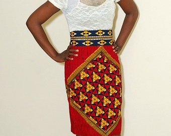 FLASH SALE - 20% OFF The Isabella african print skirt, 100 Percent cotton wax