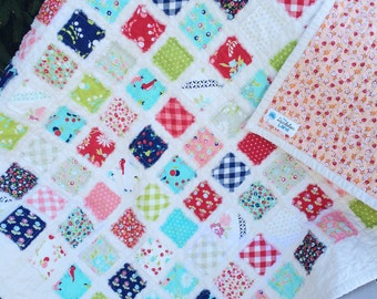 Pink and Blue Baby Quilt , Pink Quilt , Vintage Quilt , Pink Crib Quilt , Pink Vintage Quilt , Navy Quilt , Red Quilt , Baby Shower