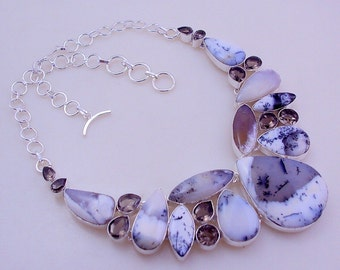 free shipping F-127  Stunning Awesome look Dendrite Opal - Smoky  .925 Silver  Necklace Jewelry 103 Gr.
