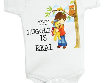 The Huggle is Real Onesie baby grow, baby creeper by Retrostate
