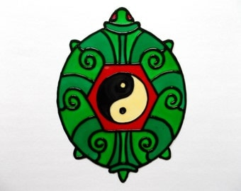 FREE SHIPPING - Turtle Window Decor - Stained Glass Style Window Cling - Glass Painted  Glueless Window Sticker/Decal - Feng Shui Suncatcher