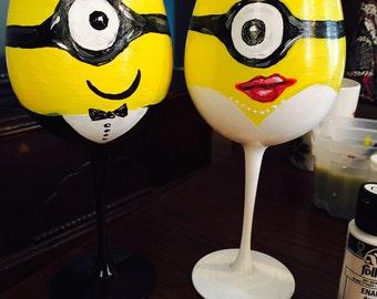 Minion bride and groom wine glasses