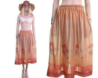 sunset tan 70s skirt hippie skirt boho skirt bohemian skirt floral print skirt hipster skirt vintage 70s skirt sheer womens 70s clothing m