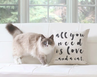 All you need is love and a cat Linen Pillow Cat Lover Gift Pet pillow Gift for Pet Lover Throw Pillow Home Decor