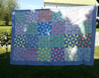Vintage Quilt Top, 16 Patch, Half Triangles, Pinwheels Cotton Quilt Top