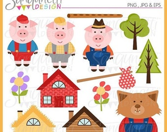 50% OFF SALE Three Little Pigs Clipart, Nursery Clipart, Three Little Pigs Graphics, Pig images, Mother goose nursery rhymes, kids nursery r