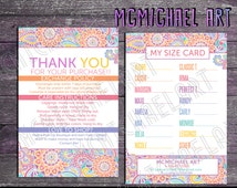 Thank you/ Care Instructions/ Size cards - 4x6 or 5x7  inches - Paisley Print