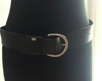 Black Leather Wide Belt - Ralph Lauren