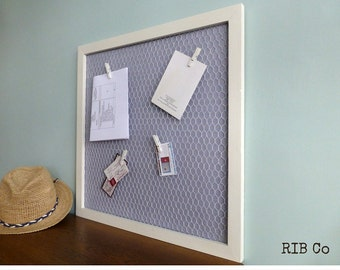 Notice Board Memo Board Pin Board Alternative. Hand made peg board - Chalk white frame with narrow blue stripe backing