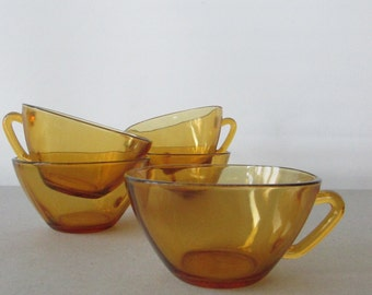 Vintage Vereco France Glass Cups - set of 5 | Amber glass cups, Duralex coffee cups, French glass cups, amber coffee cups, glass tea cups