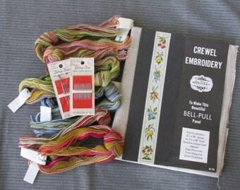 Vintage Elsa Williams Crewel Embroidery Kit, Fruit Bell Pull Kit | elsa williams needlepoint kit KC235, linen bell pull kit, crewel yarn kit