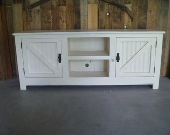 "Cottage TV stand 60 "", Sideboard, Beach, shabby chic, media stand, chicken wire, bead board, barn door, plazma stand, rustic"