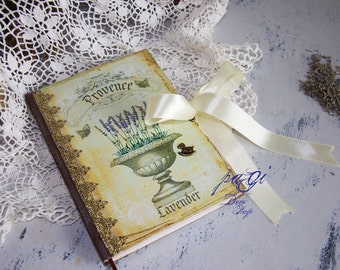 Provence diary, journal, notebook, vintage style, vintage - Shabby Chic diary, notebook, blank books