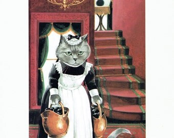 Susan Herbert Cat Maid Carrying Coal Humorous, Fine Art Print, Book Page, Illustration, Wall Decor, Cat Lovers VC4