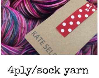 Rasburry Ruffle -4 ply/sock- dyed to order- on superwash merino 100g 425 meters hand dyed yarn