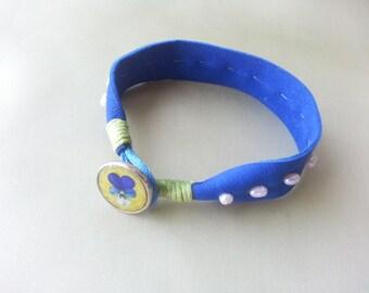 Friendship bracelet, Blue bracelet, Leather cuff, Charm bracelet