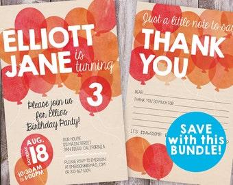 Balloon Birthday Invitation AND Thank You BUNDLE | PDF Printable