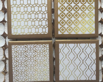 COASTERS!!! Geometric gold coasters with gold trim!